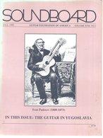 Revue Guitare Soundboard Guitar Fondation Of America N° 3 - 1990 -  The Guitar In Yugoslavia - Art