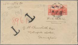 """China - Portomarken: 1915, Peking Print 30 C. Blue Horizontal Pair Tied """"SHANGHAI 8 8 35"""" To Reverse - 1949 - ... Volksrepubliek"""