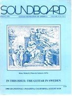 Revue Guitare Soundboard Guitar Fondation Of America N° 1 - 1990 -  The Guitar In Sweden - Art