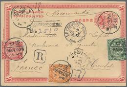 """China - Ganzsachen: 1898, Card CIP Uprated 1 C., 2 C. 10 C. Tied """"HANKOW 10 APR 04"""" Registered To Le - 1949 - ... République Populaire"""