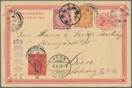 """China - Ganzsachen: 1898, Card CIP 1 C. Uprated Coiling Dragon 1 C., 2 C. Tied Lunar Dater """"Kwangtun - 1949 - ... République Populaire"""