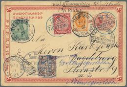 """China - Ganzsachen: 1898, Double Card Question Part Uprated Coiling Dragon 1/2 C., 2 C. Canc. Blue """" - 1949 - ... République Populaire"""
