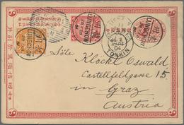 """China - Ganzsachen: 1898, Card CIP 1 C. Uprated Coiling Dragon 1 C., 2 C. Tied """"LUNGCHOW 28 FEB 04"""" - 1949 - ... République Populaire"""