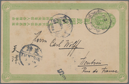 """China - Ganzsachen: 1907, Card CIP 1 C Light Green Canc. Boxed """"Chihli Anlingchen -.intercal.9"""", Via - 1949 - ... République Populaire"""
