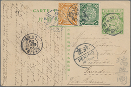 China - Ganzsachen: 1908, Card Square Dragon 1 C. Light Green Uprated Coiling Dragon 1 C., 2 C. Gree - 1949 - ... République Populaire