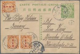 China - Ganzsachen: 1908, Card Square Dragon 1 C. Uprated Waterlow Ovpt. 1 C. (3 Inc. Pair) Canc. Bo - 1949 - ... République Populaire