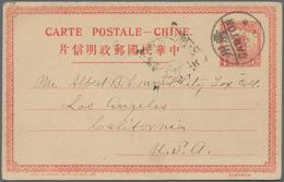"""China - Ganzsachen: 1915, UPU Card 4 C. Canc. """"CANTON 15 OCT 17"""" To USA, Letter Box Mark """"Canton Pos - 1949 - ... République Populaire"""