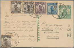 China - Ganzsachen: 1933, Card Junk 2 S. Green/no French Captions, Uprated ½ C. (3, One Pasted Sligh - 1949 - ... République Populaire