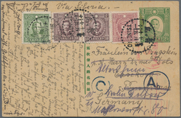 China - Ganzsachen: 1940, Chinese Postal Stationery Card 2 ½ C Green Upgraded With SG 398, 5c Green, - 1949 - ... République Populaire