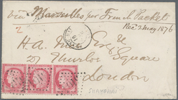 China - Fremde Postanstalten / Foreign Offices: France, 1876, Ceres 80 C., A Horizontal Strip Of 3, - China