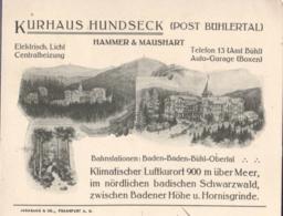 """Postkarte  """"Kurhaus Hundseck""""- Bühlerttal 10.10.1913 -> Bühl - Allemagne"""