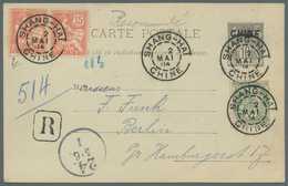 China - Fremde Postanstalten / Foreign Offices: 1904: French Offices, Stationery 10 C. Uprated 5 C., - China