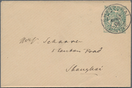 """China - Fremde Postanstalten / Foreign Offices: France, 1906, Stationery Envelope 5 C. Canc. """"SHANG- - China"""