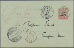 """China - Fremde Postanstalten / Foreign Offices: France, 1908, UPU Card 4 C./10 Cts. Canc. """"PEKING 24 - China"""