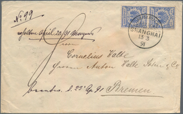 China - Fremde Postanstalten / Foreign Offices: Germany, 1892, Crown/eagle 20 Pf. Vertical Pair Tied - China