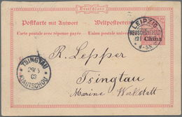 China - Fremde Postanstalten / Foreign Offices: 1903, UPU Card With Reply Ovpt. China, Germany-Tsing - China