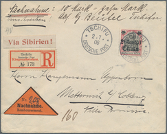 """China - Fremde Postanstalten / Foreign Offices: 1908, Germany, Chefoo, 20 C./40 Pf. Tied """"TSCHIFU DP - China"""