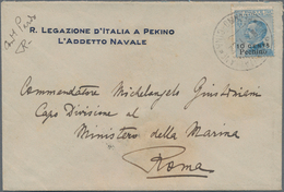"""China - Fremde Postanstalten / Foreign Offices: Italy, 1922, Peking Ovpts: 10 C./25 Cts. Tied """"PECHI - China"""