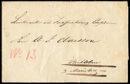 "ARGENTINA. 1844 (18 Sept.). ARGENTINA - SWEDEN - URUGUAY. Buenos Aires To Christianstad / Sweden. EL. Carried Per ""Sura"" - Argentine"