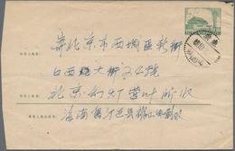 """China - Volksrepublik - Ganzsachen: 1958/59, Envelope 8 F. Green (2), Imprint 6-1958 Canc. """"Szechuan - 1949 - ... République Populaire"""