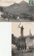 2 CPA:AURILLAC (15) STATUE DES DROITS DE L'HOMMEHOMME TRAITE DES VAVCHES À LA VACHERIE PUY GRIOU...ÉCRITES - Aurillac