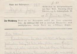 Brief Polizeigefängnis Nurnberg 5.01.1944 - Enkel De Inhoud Maar RR. - WW II