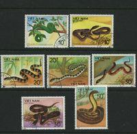 Vietnam Poisonous Snakes Set Of 7 Stamps CTO 1989  #1972-8 King Cobra Pit Viper - Vietnam