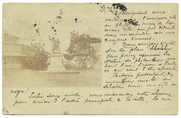 1901 GUYANE RARE ENTIER CARTE POSTALE 10c AVEC REPIQUAGE PHOTO PLACE SCHOELCHER CAYENNE VOYAGE POUR PARIS - Cayenne