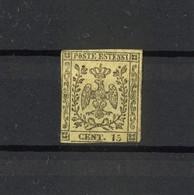 1460 - Ducato Di Modena - 15 Cent Nero Su Giallo Anno 1852 - Modena