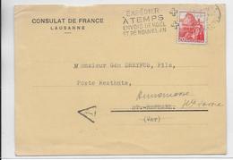 1941 - SUISSE - CP TAXEE  CONSULAT De FRANCE à LAUSANNE REPONSE REFUSEE à POSTE RESTANTE ! => ST RAPHAËL (VAR) - JUDAÏCA - Guerra Del 1939-45