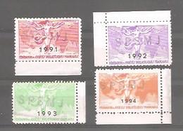 Vignettes Officielles De La Fédération Des Sociétés Philatéliques Françaises. 1991 / 1992 / 1993 / 1994. - Other