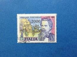 1986 ITALIA AMILCARE PONCHIELLI MUSICISTA FRANCOBOLLO USATO ITALY STAMP USED - 6. 1946-.. Republic