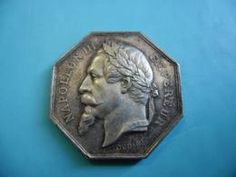 Superbe JETON MEDAILLE Notaire Napoléon III Tête Laurée CLAMECY Nièvre (58)  Poinçon Tranche Argent Abeille 1860 à 1869 - France