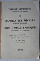 Liste Prix Bandelettes Fiscales Pour Tabac 1926 Synoptische Tableau Des Fiscale Bandjes Voor Bewerkte Tabak Cigare - Marcophilie