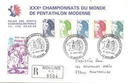 1987 Championnats Du Monde De Penthlon Moderne à Moulins:lettre Du Comité D'Organisation  Recommandée - Stamps