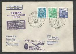 Aérophilatélie - DDR - Lettre 1956 - Luftpost Sabena Sonderflüge - Leipziger Messe - - [6] République Démocratique