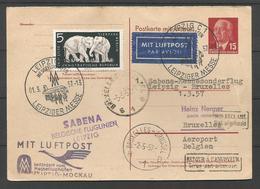 Aérophilatélie - DDR - Carte 1957 - Luftpost Sabena Leipziger Messe - éléphants - [6] Oost-Duitsland