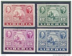 LOTE 472  ///  (C025)  LIBERIA  1947   YVERT Nº:  49-52**MNH  ( SELLO DE 50 CTOS CON DEFECTO) - Liberia