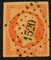 Timbre De France Classique N°16 Obl PC 1520 TB Aisne (02) - 1853-1860 Napoléon III