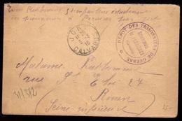 """1916 JORT PERRIERES (14) LsC En FM Avec Cachet """"DEPOT Des PRISONNIERS De GUERRE - DETACHEMENT De PERRIERES"""" - Marcophilie (Lettres)"""