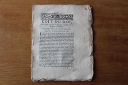 Edit Du ROI 1787 Concernant  Ceux Qui Ne Sont Pas De Religion  Catholique - Historical Documents