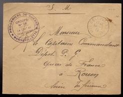 """1918 MANNEVILLETTE (76) LsC En FM Cachet """"PRISONNIERS De GUERRE - MANNEVILLETTE GROUPE N°36 - Le Chef De Détachement"""" - Marcophilie (Lettres)"""