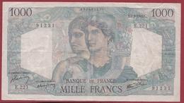 """1000 Francs """"Minerve Et Hercule"""" Du 07/03/1946.F----F/TTB+---ALPH .E.221 COUPURE A 14H10 DE 1 CM - 1871-1952 Antichi Franchi Circolanti Nel XX Secolo"""