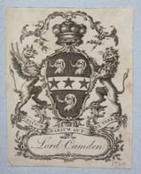Ex-libris Héraldique XVIIIème - LORD CAMDEN - Blason Aux éléphants - Ex-libris
