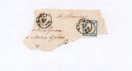 4468 - Province Napoletane - Due Grana - Celeste - Doppia Immagine - Su Frammento - Anno 1861 - Napoli