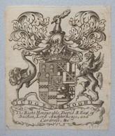 Ex-libris Héraldique XVIIIème - DAVID S. EARL OF BUCHAN - Ex-libris