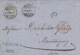 LETTRE. SUISSE. 18 VII 67. GENEVE A. A.DUBOULON GENEVE. PD POUR MONTAGNY LOIRE. ENTREE RROUGE SUISSE AMB. MONT-CENIS A - 1862-1881 Helvetia Seduta (dentellati)