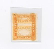2736 - Regno Di Sardegna - C. 80 Arancio Carico - Anno 1863 - Senza Effige E Tripla Impressione Della Stampa - Sardegna