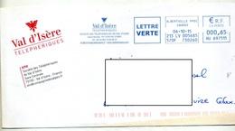 Lettre Flamme Ema Albertville Telepherique Val D'isere - Storia Postale