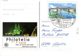 "BRD Amtl. GZS-Sonderpostkarte PSo 76 ""Philatelia Mit T'card, Köln"" WSt ""Eisenbahnbrücke Rendsburg"" SSt. 13.8.2001 BERLIN - [7] Repubblica Federale"
